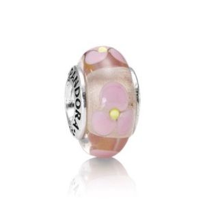 Pandora Retired Murano Pink Glass Water Lily Charm